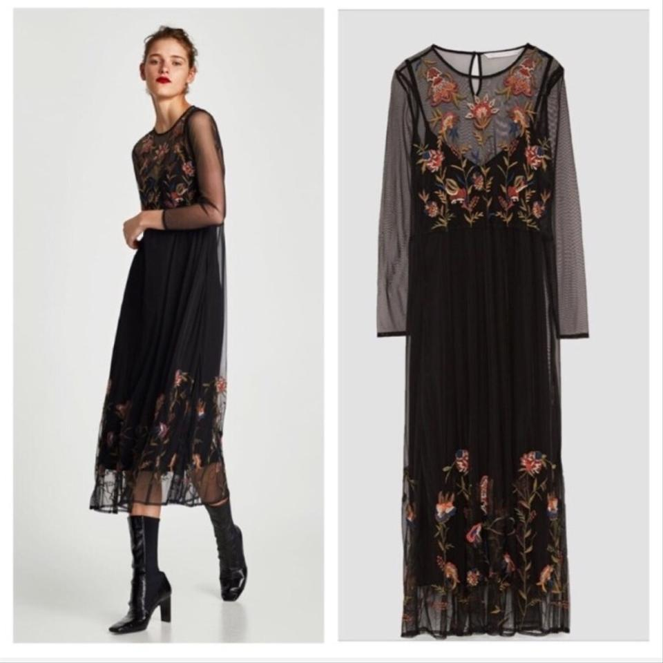 22c146d7 Zara Black Floral Embroidered Midi Mid-length Short Casual Dress ...