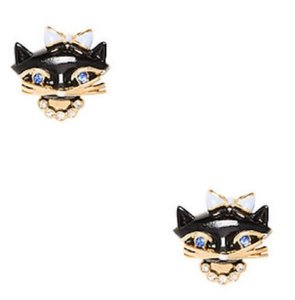 Kate Spade KATE SPADE Black Multi Jazz Things Up Cat Stud Earrings w/ Dust Bag