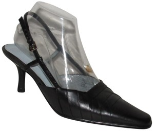 "Etienne Aigner Dressy Or Casual Slingback Style 3"" Kitten Heels 'paulie' Style Pleated black leather Pumps"