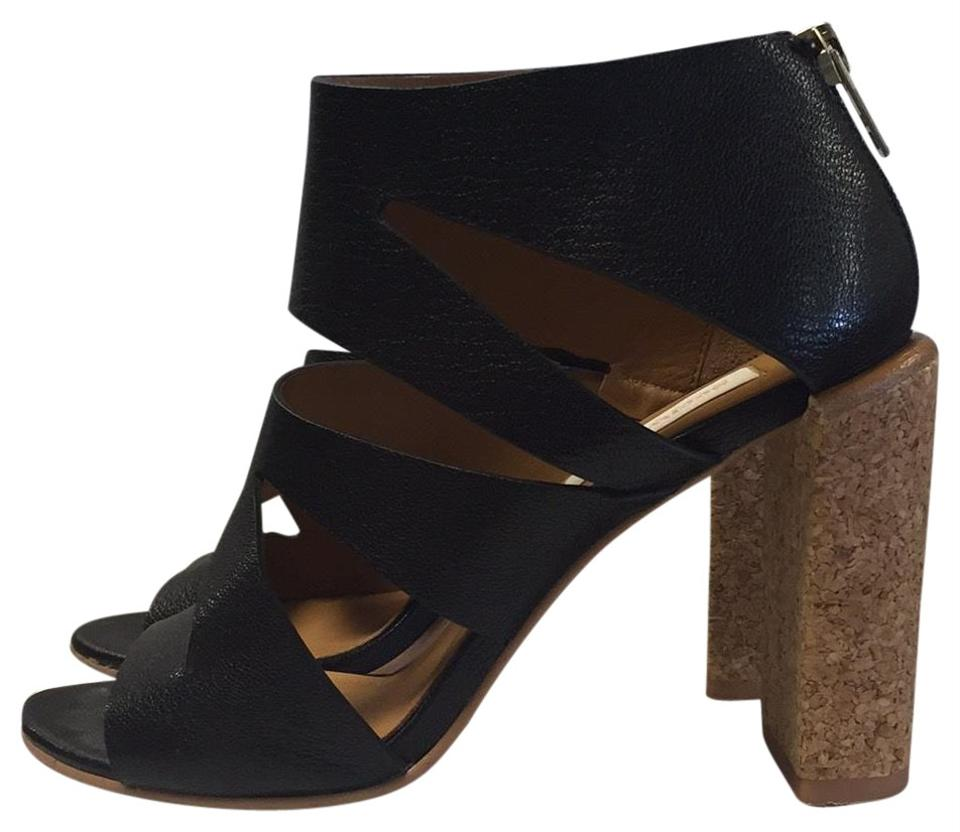See by High Chloé Black High by Heel Bootie with Cork Heel Sandals c1af9d