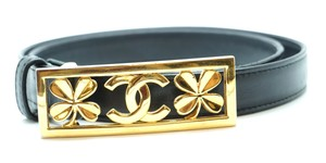 Chanel CC gold Clover buckle leather Belt