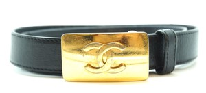 Chanel CC logos gold buckle leather Belt size 75/30