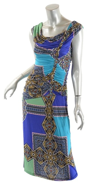 Item - Blue Multi Milano Color Rayon Knit Eclectic Motif Pattern Ruch Mid-length Casual Maxi Dress Size 12 (L)