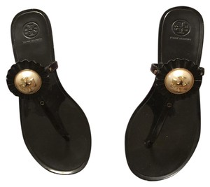 Tory Burch Black with cream and gold design Sandals