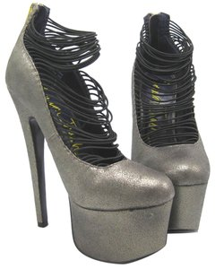 London Trash Pumps Pewter High Heel Gray Platforms