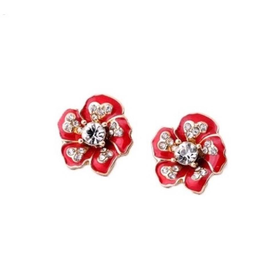 Kate Spade Red Gold Crystal Flower Earrings Tradesy