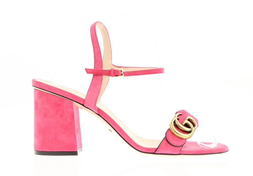 4c882399abb Gucci Pink Marmont Suede Chunky Sandals Size EU 40 (Approx. US 10 ...
