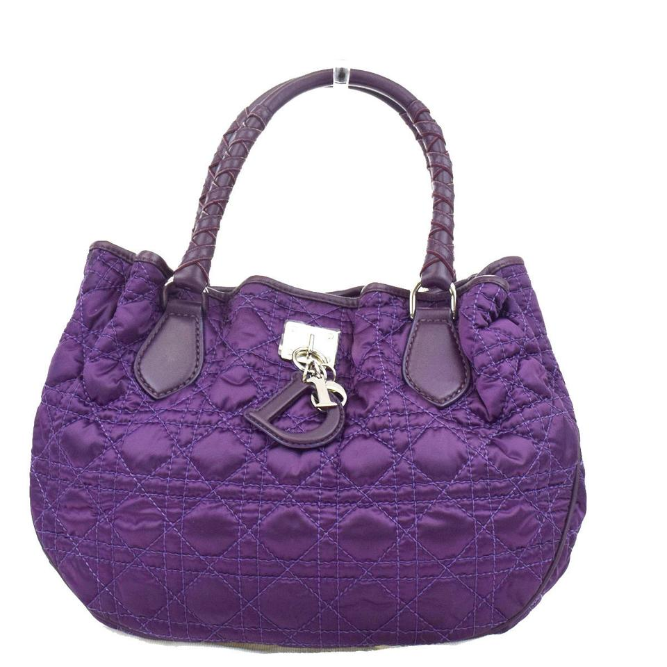 a110122ca20 Dior Christian Cannage Lady Hand Italy Purple Nylon Leather Shoulder ...