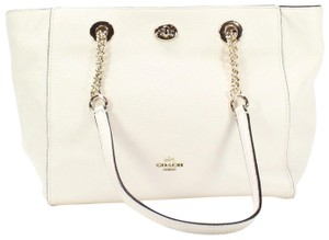 Coach Turnlock Leather Tote in chalk