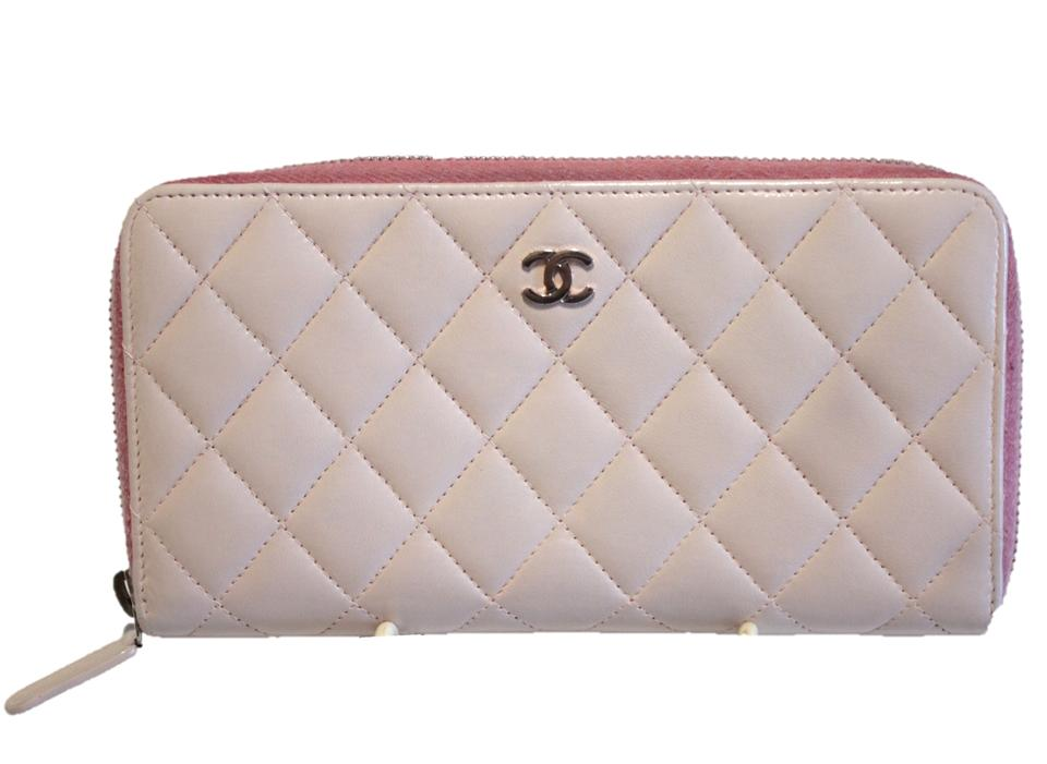 6c8b238cb29a Chanel AUTHENTIC Chanel Pink Zip Around Quilted Leather Wallet Silver CC  2016 Image 0 ...