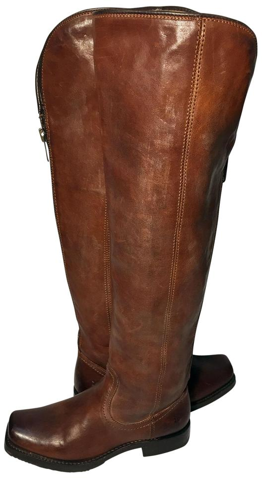 Frye Brown 77238 Tall Zip Motorcycle Over Knee Women Boots Booties ... 82bbd62f51