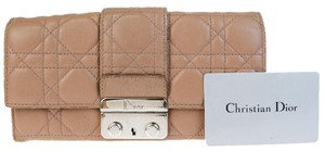 Dior Christian Dior Lady Cannage Long Bifold Wallet Purse Leather Brown