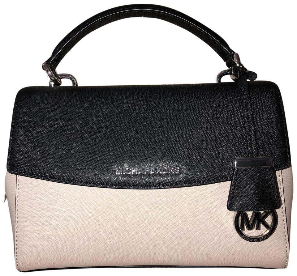 8af6799b6244 MICHAEL Michael Kors Ava Small Top-handle Crossbody Cement & Black Saffiano  Leather Satchel