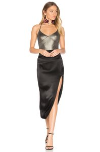 House of Harlow 1960 Strappy Metallic V-neck Sleeveless Camisole Top liquid gold