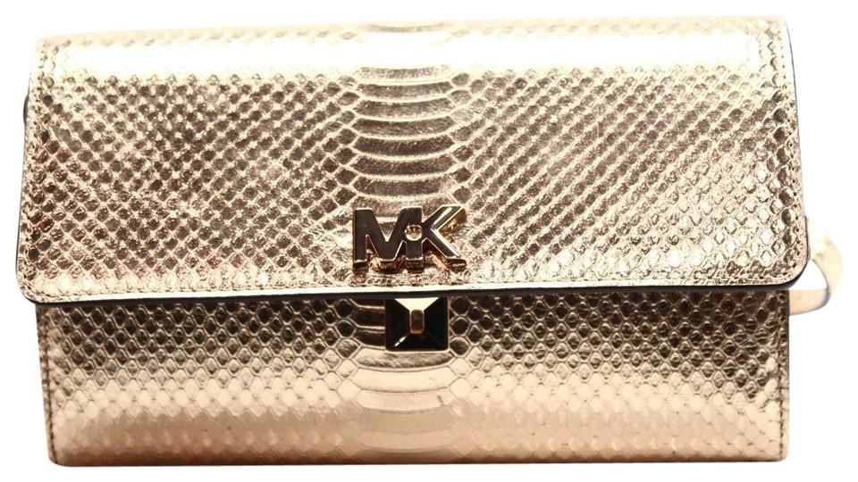 affb2050522d Michael Kors Mott Clutch Snake Embossed Gold Metallic Leather Cross ...