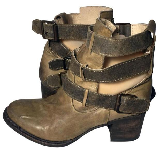 Item - Brown Rolling Buckle Khaki Leather Western Riding Boots/Booties Size US 8 Regular (M, B)