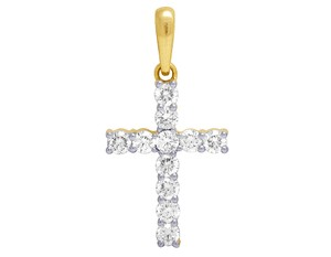 Jewelry Unlimited 10K Yellow Gold Real Diamond Solitaire Cross Pendant 1.06 CT 1.1""