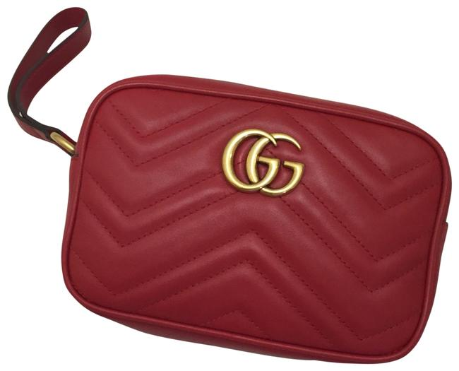 Item - Marmont Gg 2.0 Medium Quilted Red Leather Wristlet