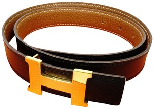 Hermès Mint Black Brown Leather H Constance 75 Kit Palladium Buckle Belt G