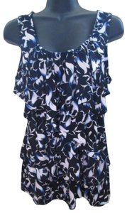 White House | Black Market Floral Ruffled Spring Summer Formal Top Multicolored