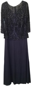 Pisarro Nights Beaded Ball Gown Lace Flowy Embellished Dress