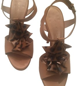 Casadei Beige/Natural with brown animal print accent Sandals