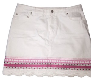 Lilly Pulitzer Designer Denim Summer Pink Ribbon Mini Denim Stretch Denim Pink Mini Skirt White