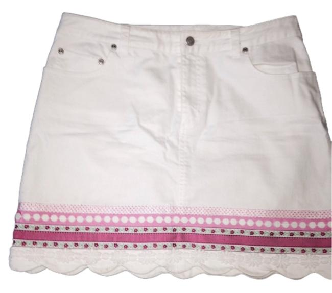 Lilly Pulitzer Designer Denim Summer Pink Ribbon Mini S Denim S Stretch Denim Pink Mini Skirt White