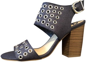 Fergalicious by Fergie Denm Riveted Holes Chunky Heels High Heels TOTALLY SEXY!! NWT-DENIM BLUE-BRAND NEW Sandals