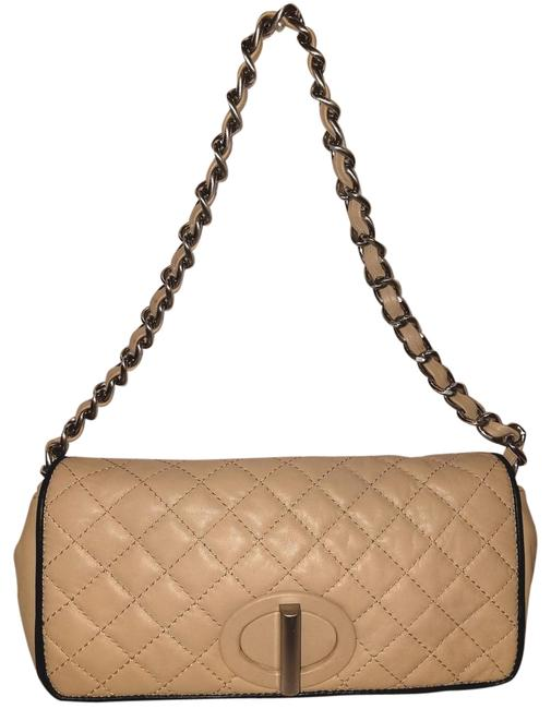 Item - Quilted Handbag with A Flap Cover Cream Leather Shoulder Bag