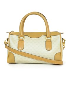 Gucci Vintage Monogram Boston Satchel in beige