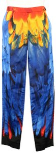 Prada Parrot Feather Silk Faille Dress Trouser Pants Multi-Color