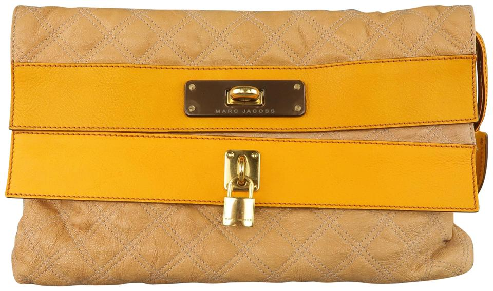 6c9898a53fa0 Marc Jacobs Quilted Leather Metal Lock Clochette Italian Beige Clutch Image  0 ...