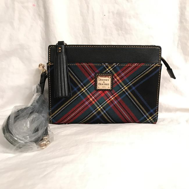 Item - New Plaid Saffiano Leather Convertible Black Multi Red Canvas Cross Body Bag