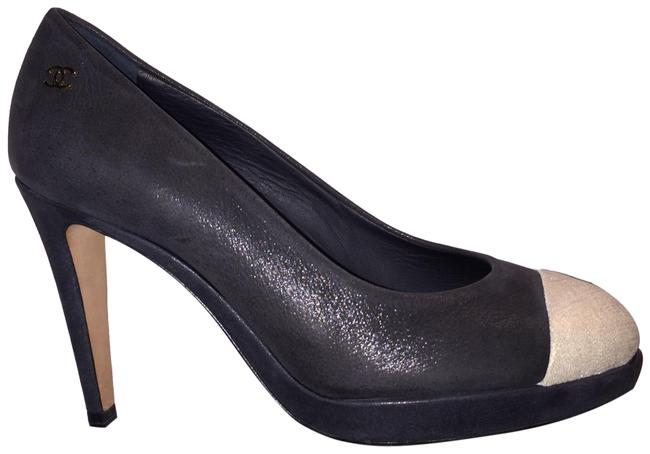 Item - Black & Gold Flocked Calfskin Cap-toe Pump Platforms Size US 5.5 Regular (M, B)