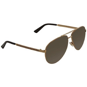 Gucci Brown Gradient Gold Tone Aviator Men's Sunglasses