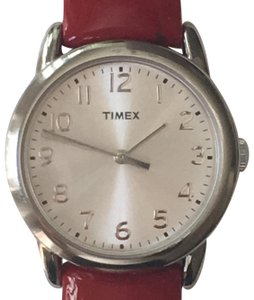 Timex T2P085 Metallic Silver Dial w/ Red Patent Leather Strap