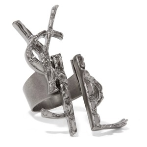 Saint Laurent deconstructed logo silver plated ring