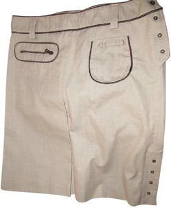 Bally Knee Length/A-line Mint Vintage/ Nos Lots Of Pockets Center Pleat Skirt 100% khaki cotton with brown leather accents