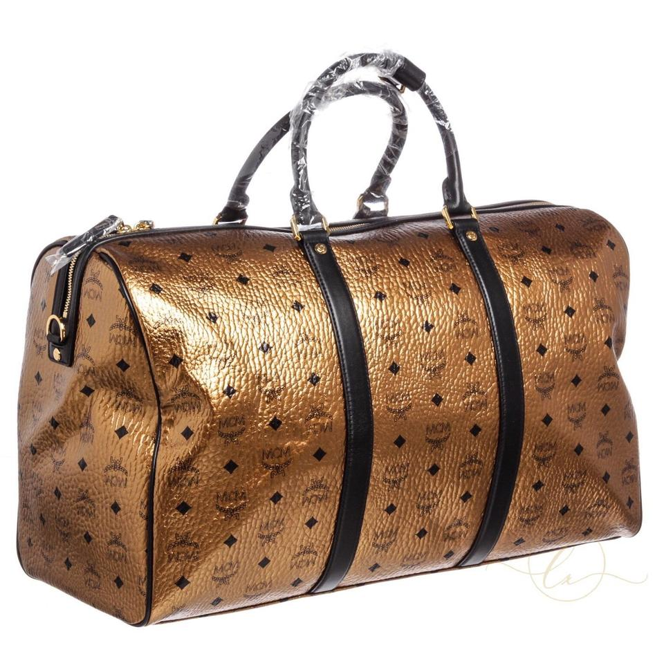 Bag Duffle Metallic Weekend Travel Canvas Voyager MCM Leather and Black Visetos Bronze qPanOtZd