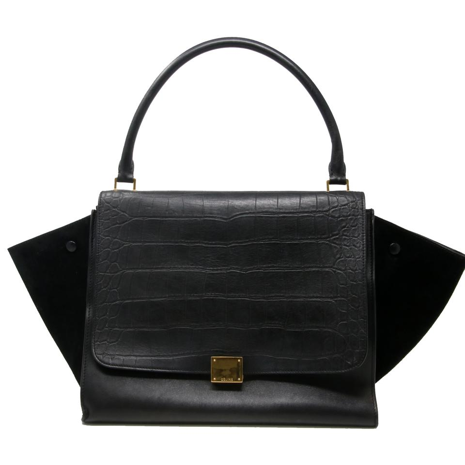 a950510296 Céline Trapeze Cabas Phantom Large Grain Calfskin Suede 2way Croc Stamped  Gold Black Leather Satchel