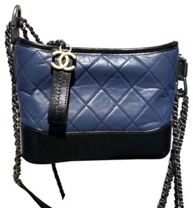7bb7d43cd9dd54 Chanel Gabrielle Aged Calfskin Quilted Small Navy/Black Leather Hobo Bag