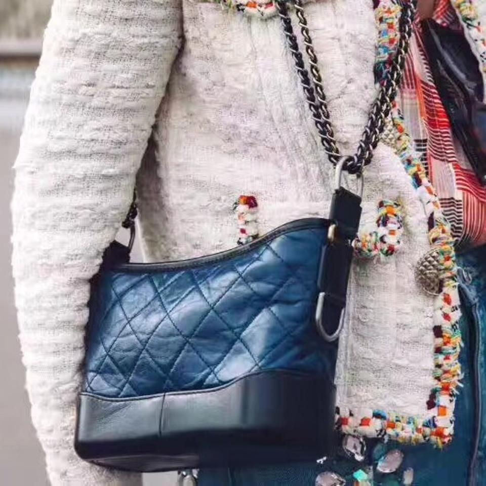 a2c6f184bf33 Chanel Gabrielle Hobo Aged Calfskin Quilted Small Navy Black Leather Hobo  Bag - Tradesy