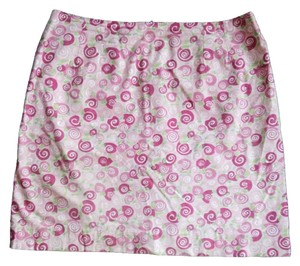 Lilly Pulitzer Bright Knee Length Skirt Pink green white