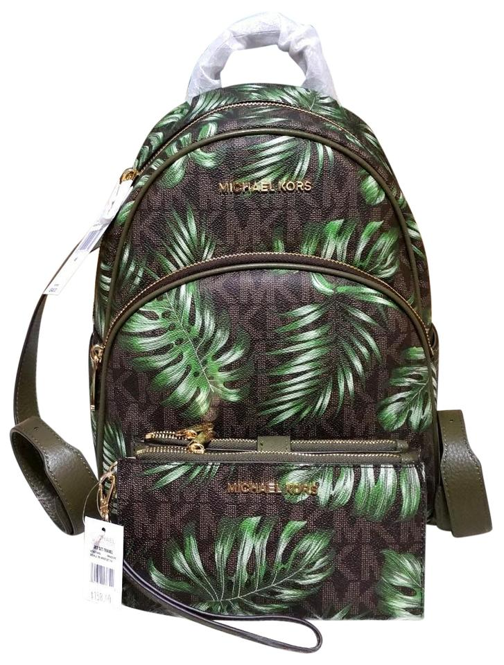 490341e6c06a59 Michael Kors Abbey Medium Palm Tree Wallet Set Brown Olive Signature Pvc  Leather Backpack