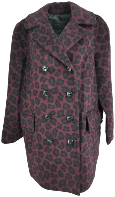 Item - Purple Ocelot Print Long Coat Size 12 (L)