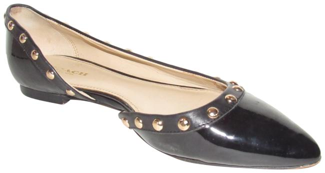 Item - Black Patent Leather with Gold Studs Throughout Modern Shoes/Designer Flats Size US 7.5 Regular (M, B)