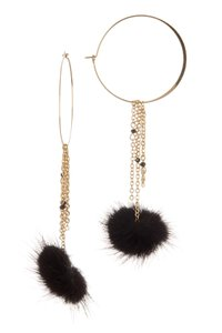 Ettika Ettika Chain Tassel Pom Pom Hoop Earrings Black