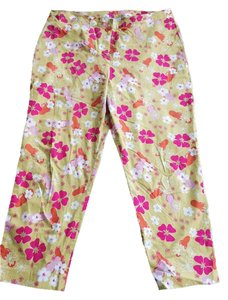 Lilly Pulitzer Casual Designer Light Weight Stretch Size 16 Pink Green Cropped Pink Green Summer Floral Pattern Pink Capri/Cropped Pants Green pink