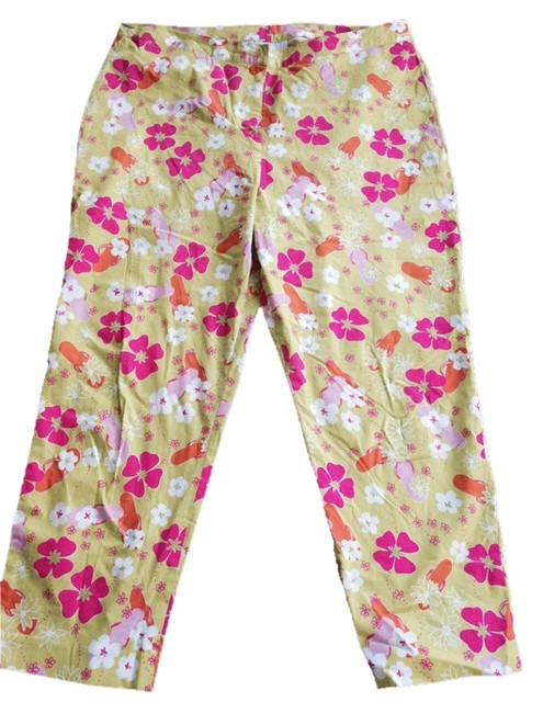 Lilly Pulitzer Casual Designer Light Weight Stretch Size 16 Summer Floral Pattern Yellow Yellow Capri/Cropped Pants Green pink